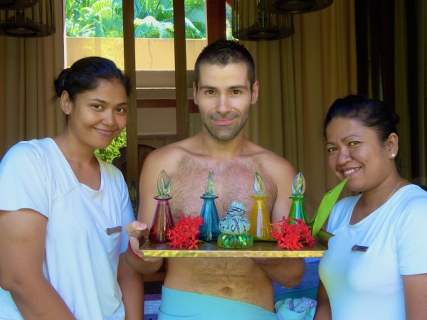 Sebastien and massage girls at The Four Seasons Langkawi