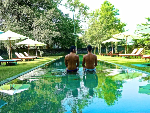 Nomadic Boys at outdoor pool Temple Tree