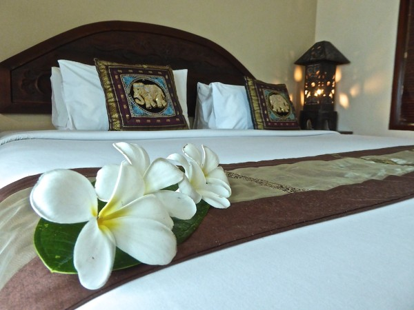 Thai decorated bed in the Thai suite