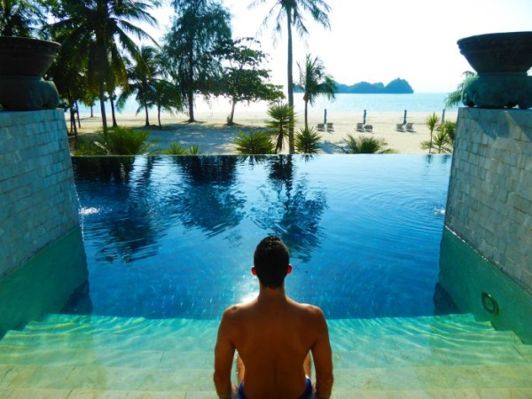 Stefan admiring the view from the adults' private pool at The Four Seasons Langkawi