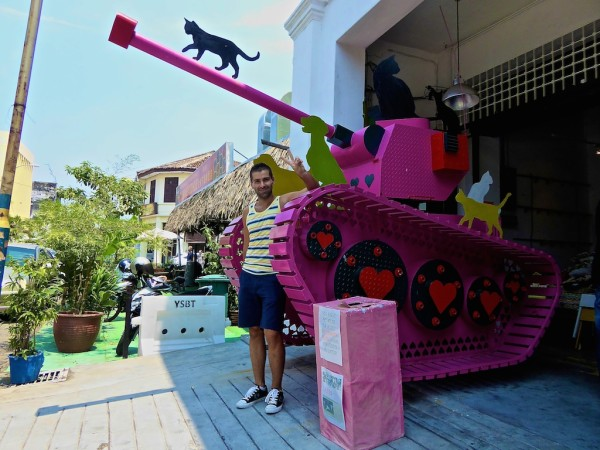 Pink Tank outside China House