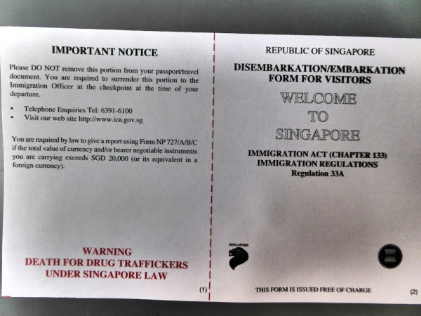 The Singaporean immigration landing card