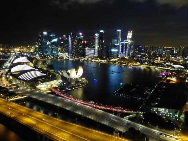 The night skyline of Singapore from the Singapore Flyer