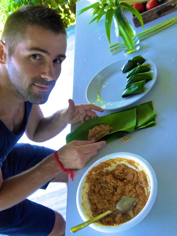 Otak otak mixture rolled in banana leaves