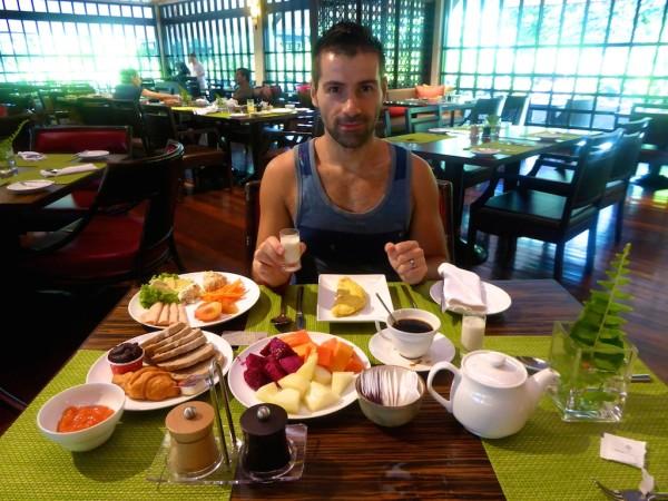 Sebastien's breakfast at the Mulu Marriott