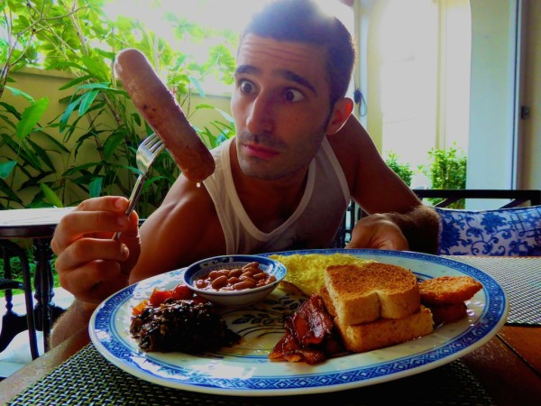 Stefan and sausage at breakfast