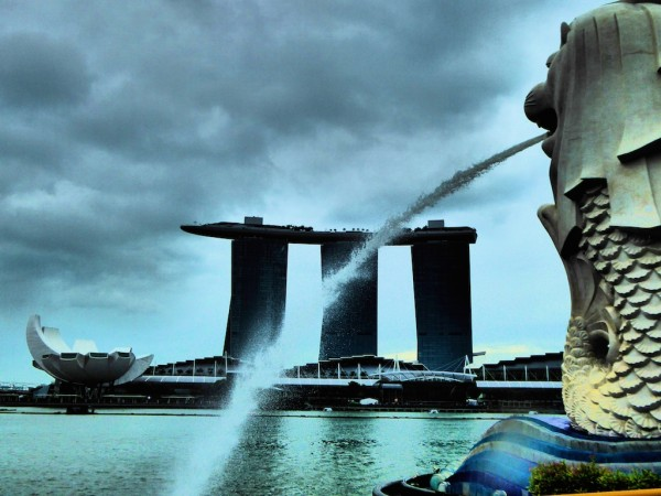 View of Marina Bay Sands Merlion and lotus AirScience museum