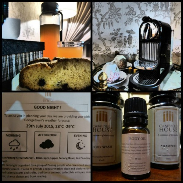 The little touches at Campebll House: your own coffee machine, weather forecast, cakes, and body oil!