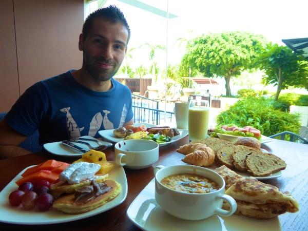 Seb with buffet breakfast at Tanjung Ria Kitchen at the Hyatt