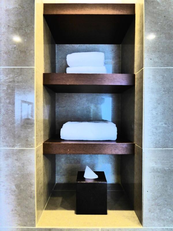 Careful towel decoration in our bathroom in the Hyatt