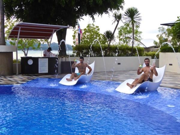 Cocktails by the Hyatt pool in Kota Kinabalu