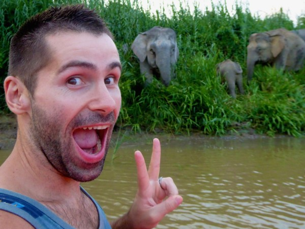 Esmerelda the Elephant photobombing Seb