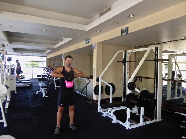 The gym at the Hyatt in Kota Kinabalu