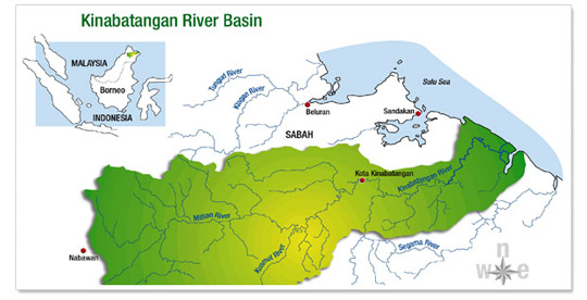 Map of Borneo and Kinabatanagan River