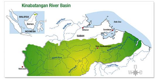 Map of Borneo and Kinabatanagan River