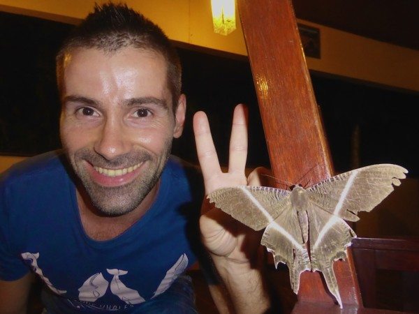 Sebastien with Mariah the Giant Moth