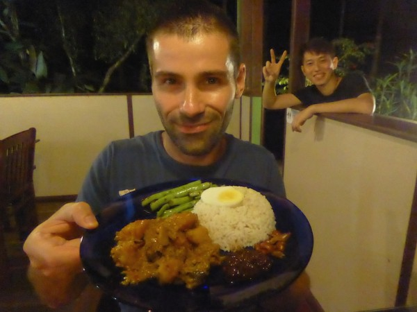 Sebastien with delicious nasi lemak