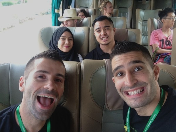 Our shuttle bus selfie with friends