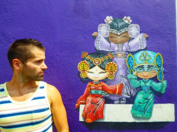Nomadic Boys gay guide to Penang with Sebastien and the street art in George Town