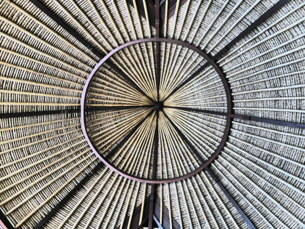 Balinese style thatched roof at Dusun Villas, Seminyak in Bali in Indonesia