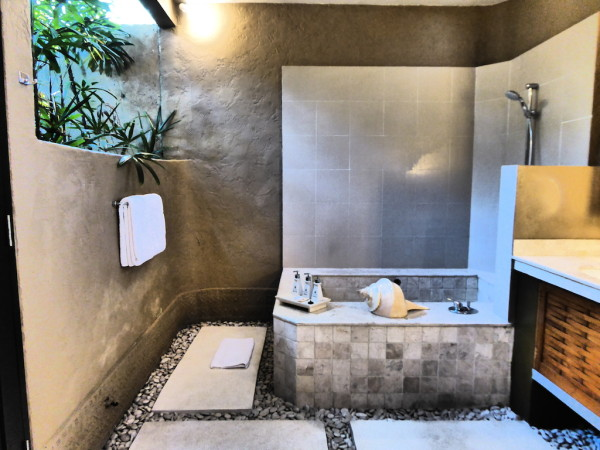 Stone bathroom at our villa at Villas Bali Hotel