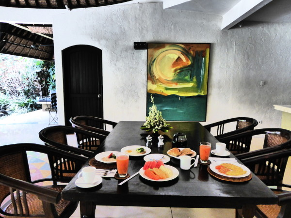 Breakfast at our villa at Villas Bali Hotel in Seminyak