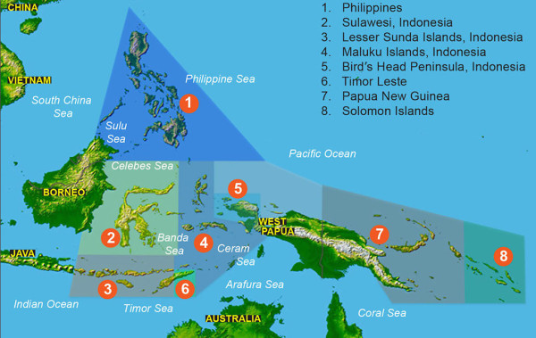 Map of the Coral Triangle around Komodo National Park, Indonesia