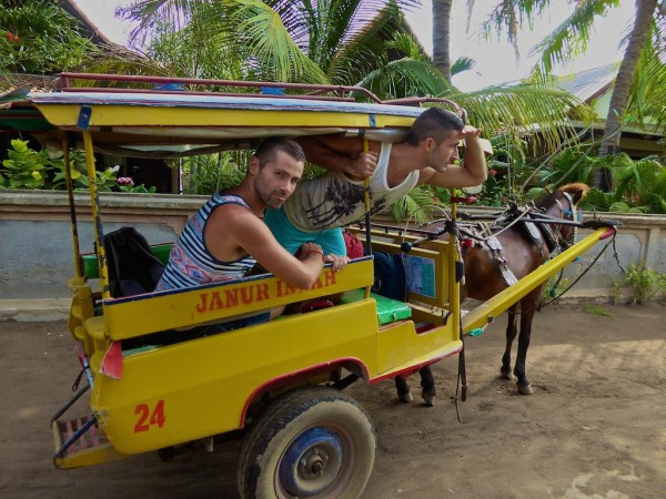 Nomadic Boys on horse and carriage on Gili Trawangan working on Gay Guide to Gili islands