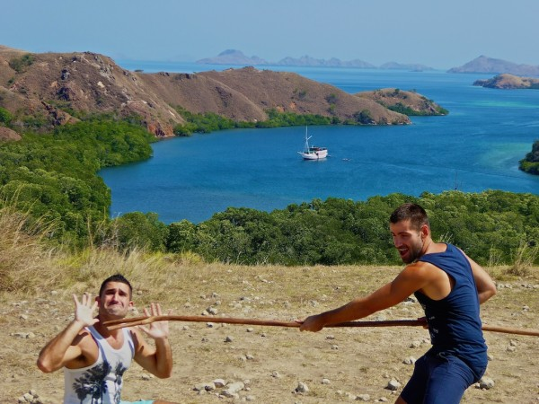 Gay couple travelling in Asia Rinca Island Komodo National Park Indonesia