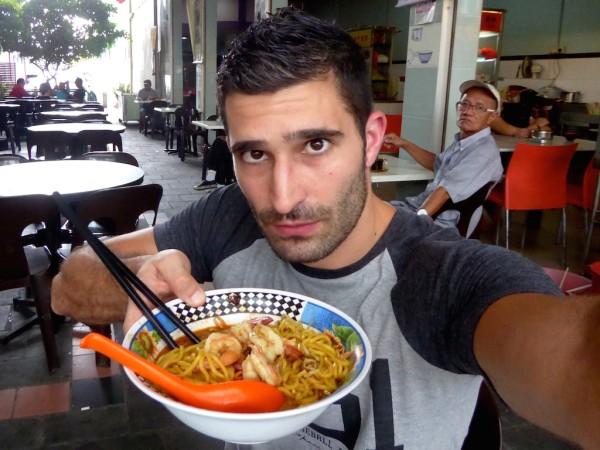 Stefan with Sarawak Laksa in Kuching