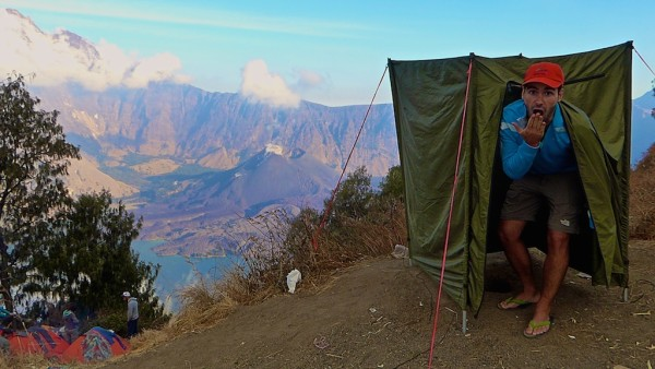 Our toilet tent on our Mount Rinjani trek on Lombok Island in Indonesia