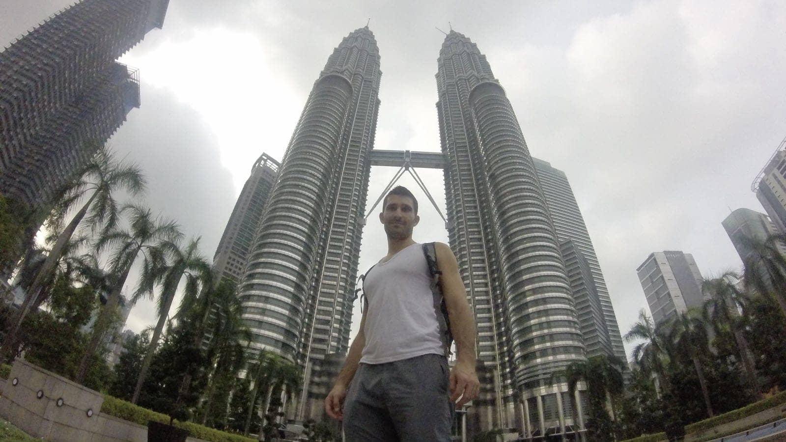 Stefan posing at the Petrona Twin Towers of Kuala Lumpur