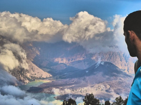 View of Mount Rinjani volcano on Lombok island in Indonesia