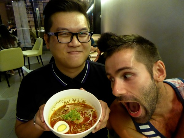 Seb and Ronnie with Sarawak Laksa in Kuching