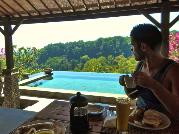 Breakfast at Rinjani Lodge at Senaru Village, Lombok Island in Indonesia