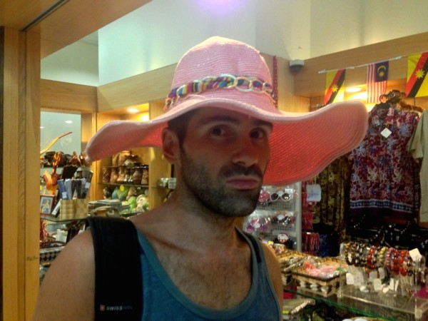 Sebastien with new sun hat in gay Kuching