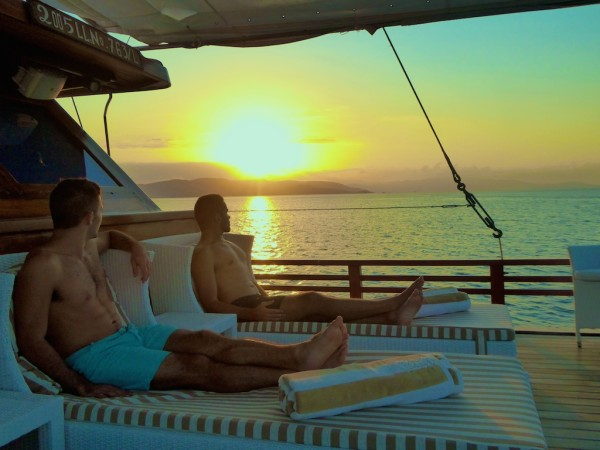 Stefan and Sebastien on the sun deck of the luxury Samata Liveaboard at the Komodo National Park