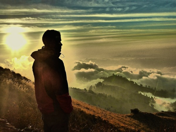 Sunset view from crater rim of Mount Rinjani in Lombok, Indonesia