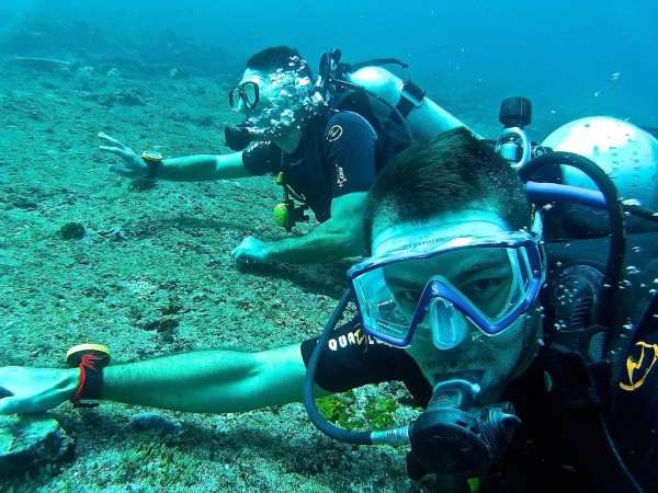 Diving in the Komodo National Park: The Cauldron reef strong current