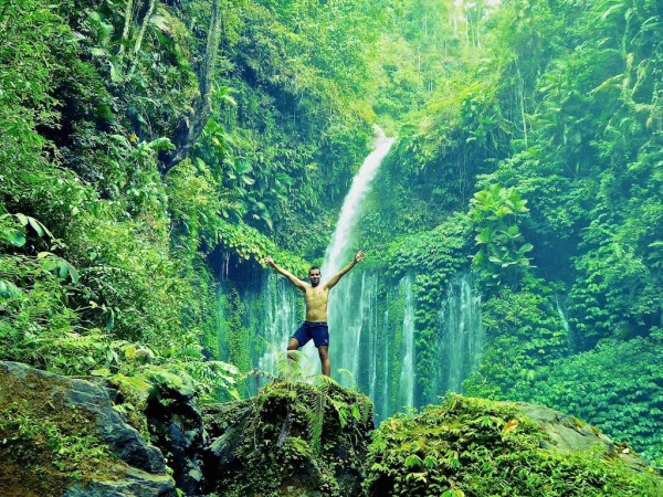 Tiu Kelep waterfall in Mount Rinjani National Park Senaru Village Lombok