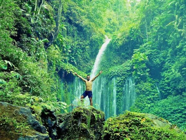 Tiu Kelep waterfall in Mount Rinjani National Park Senaru Village Lombok