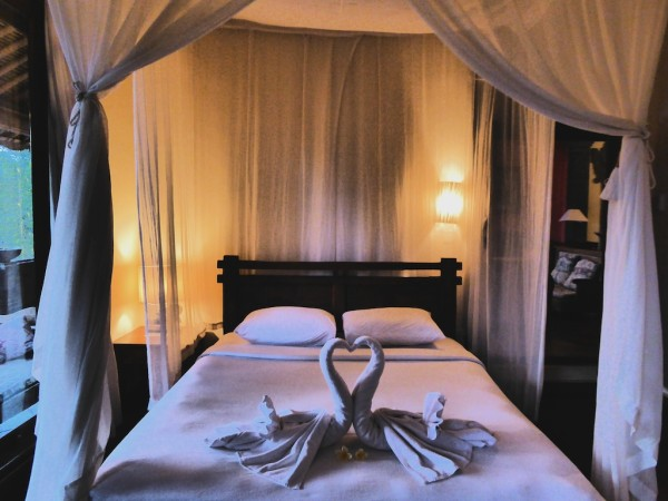 Four poster bed in our Awang Awang villa in Ubud