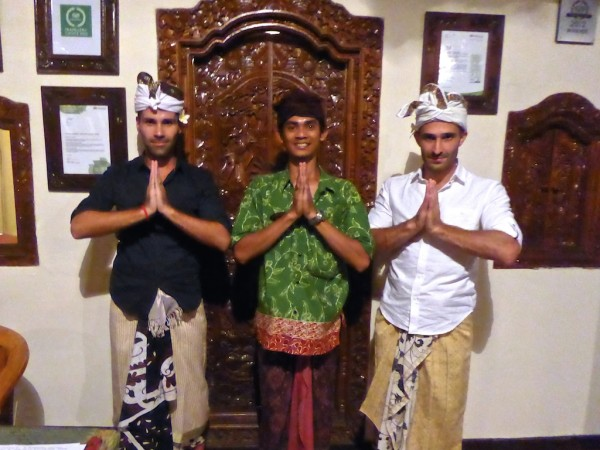 Dressing in traditional Balinese sarong udeng at Villa Awang Awang in Ubud