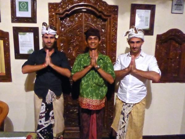 Dressing in traditional Balinese sarong udeng at Villa Awang Awang in Ubud