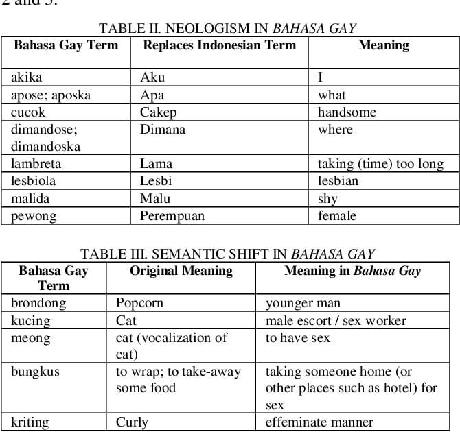 Bahasa Binan gay Indonesian language
