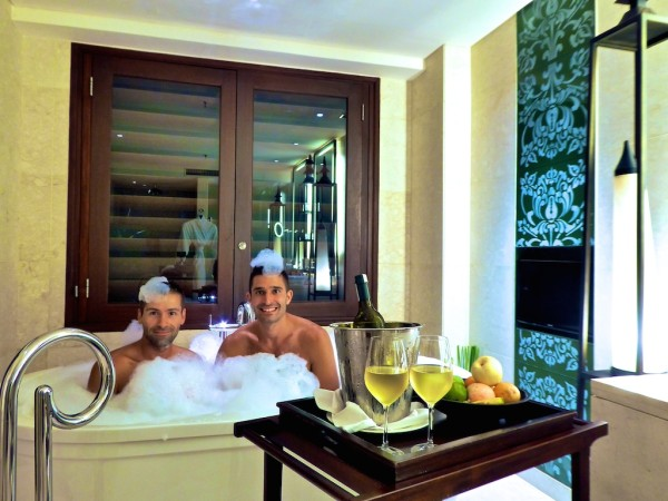 Romantic bath at our Suite at gay friendly St Regis Bali Resort in Nusa Dua
