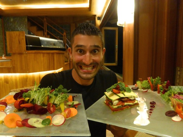Stefan with Living Lasagne and Tempeh toast salad at Fresh restaurant in Ubud, central Bali