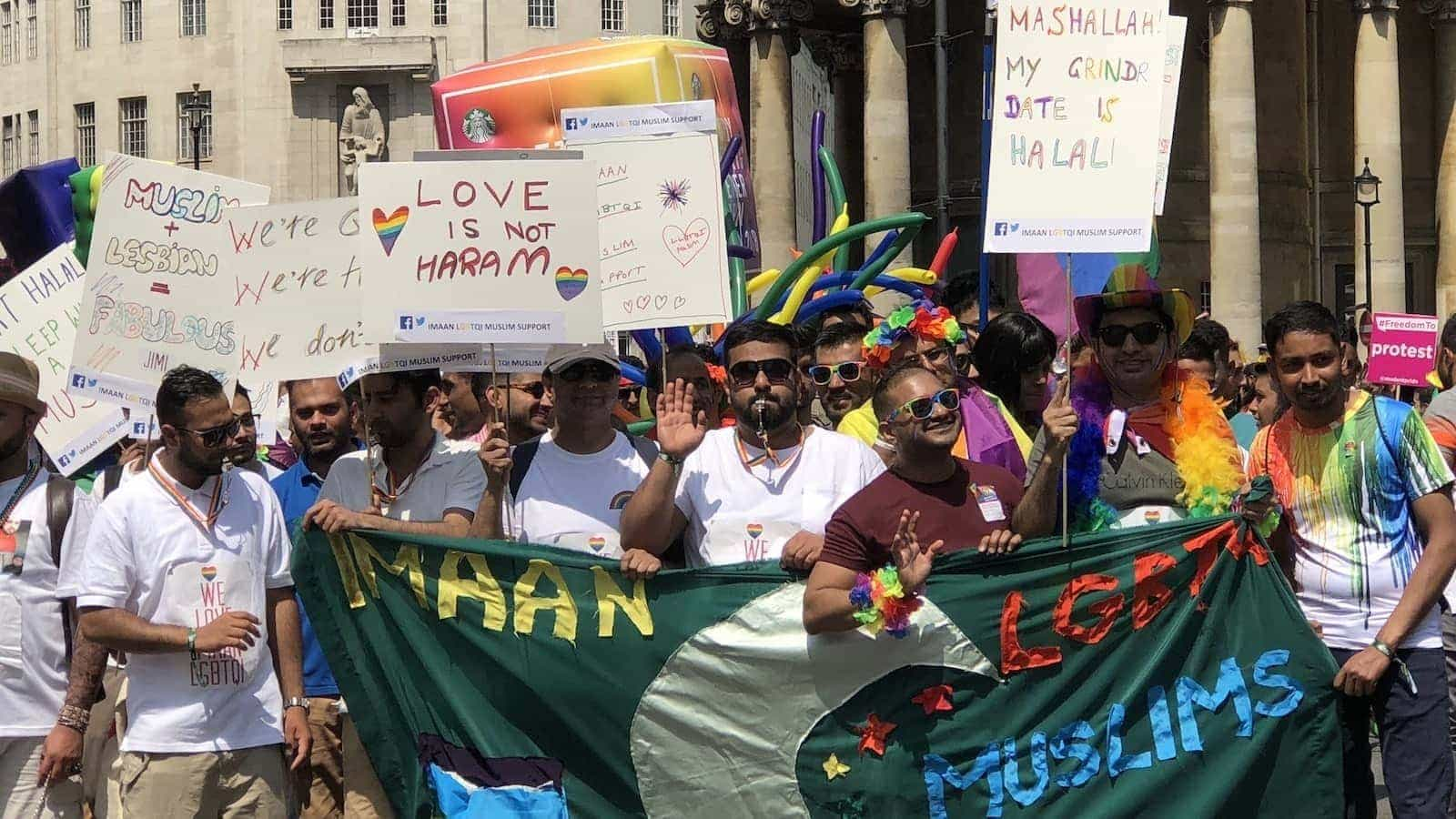 Gay Muslims demonstrating at a Pride event