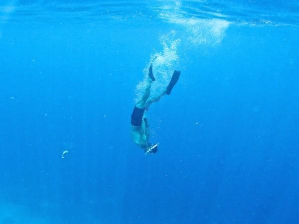 Sebastien snorkelling near Gili Air beach