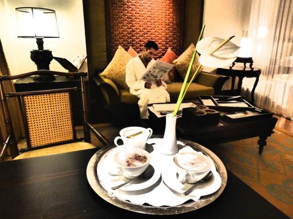 Midnight coffee service from St. Regis signature butler serivce